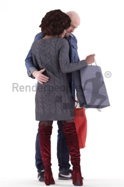3d people couple and groups, white black 3d human shopping with bags