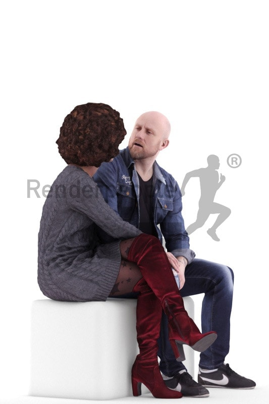 3d people couple and groups, white black 3d human sitting and talking