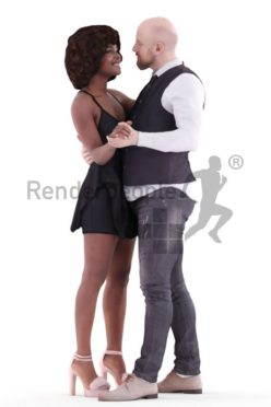 3d people event couple and groups, white black 3d human dancing