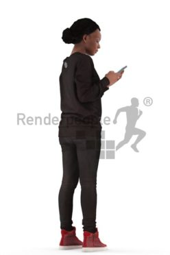 3d people casual, black 3d woman walk typing on her smartphone