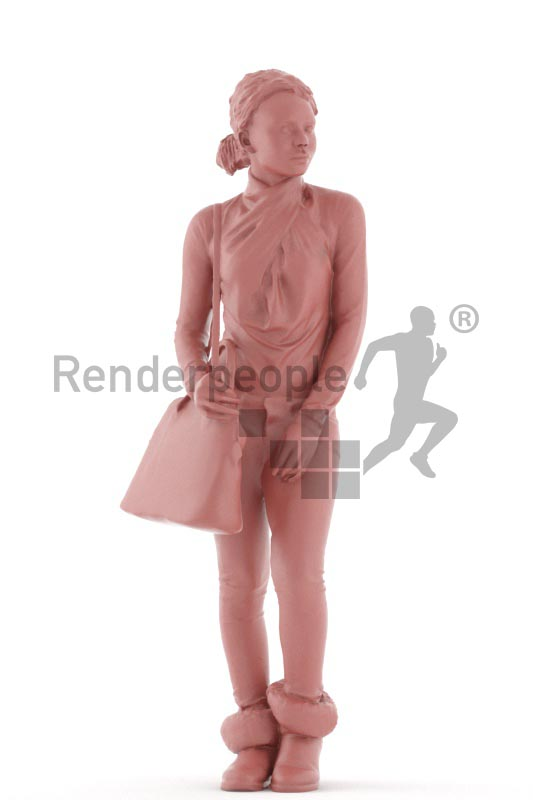 3d people casual, black 3d woman walking and carrying a bag