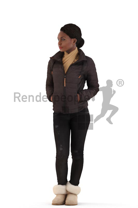 3d people outdoor, black 3d woman standing