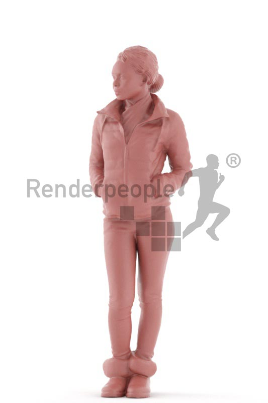 3d people outdoor, black 3d woman standing