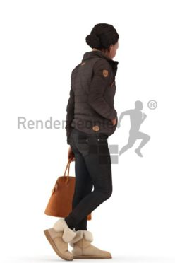 3d people outdoor, black 3d woman walking and carrying a bag