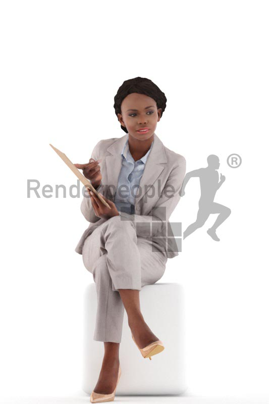 3d people business, black 3d woman sitting and showing a document