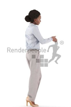 3d people business, black 3d woman standing and shaking hands