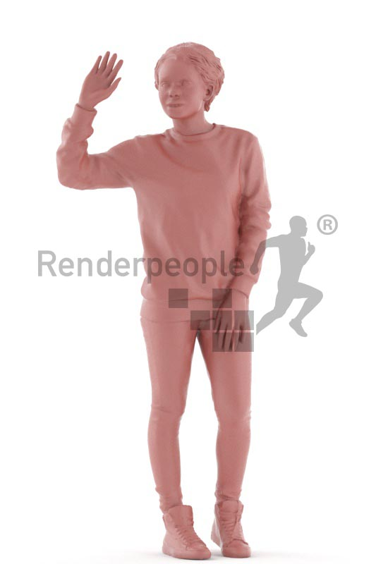 3d people casual, black 3d woman standing and waving