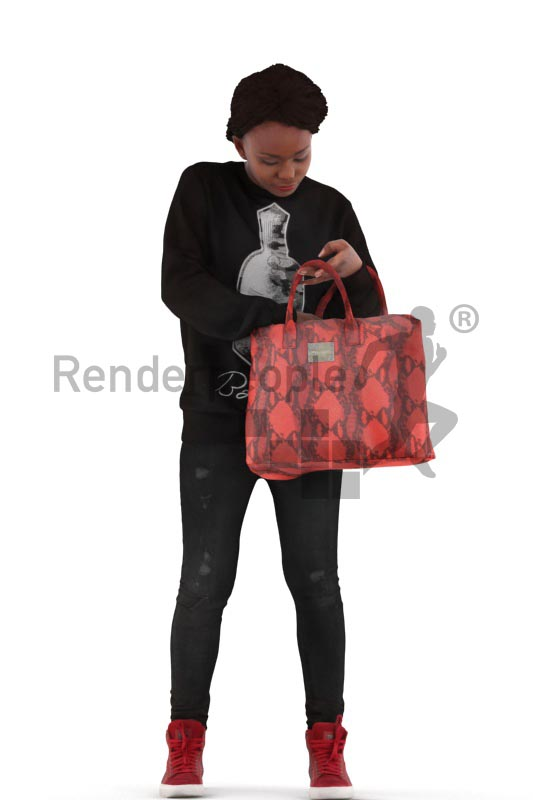 3d people casual, black 3d woman standing and searchin in his bag