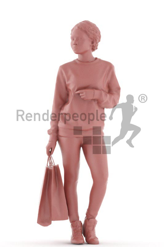 3d people casual, black 3d woman walking with shopping bags