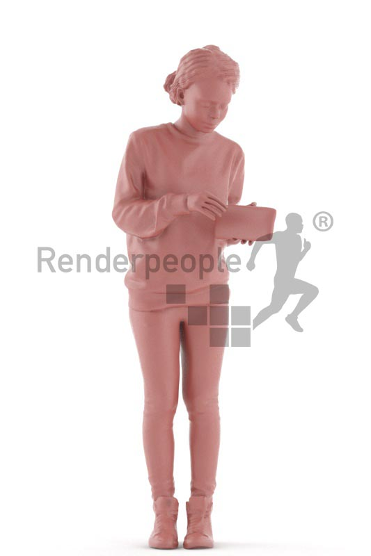 3d people casual, black 3d woman standing and searchin in her wallet