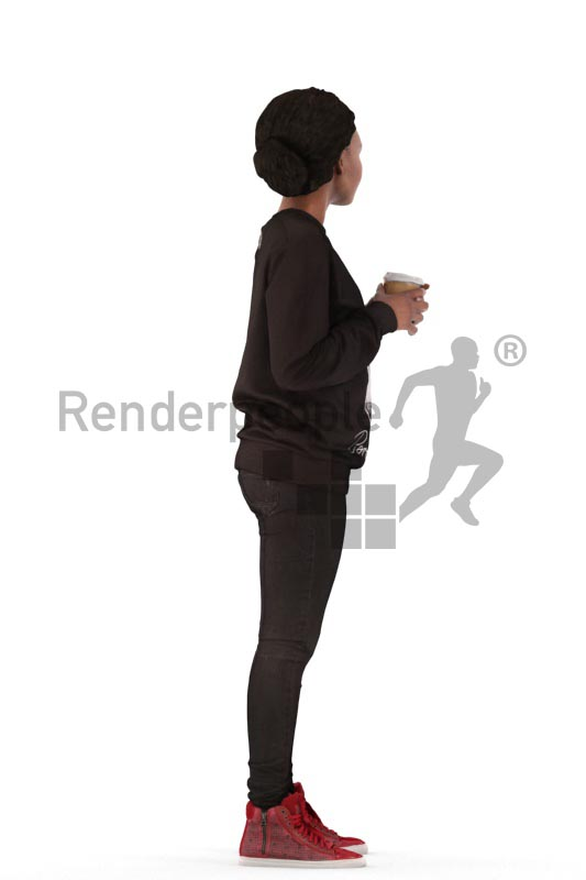 3d people casual, black 3d woman standing and drinking coffee