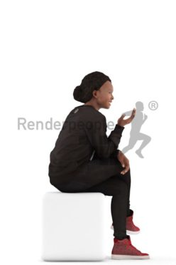 3d people casual, black 3d woman sitting and debating