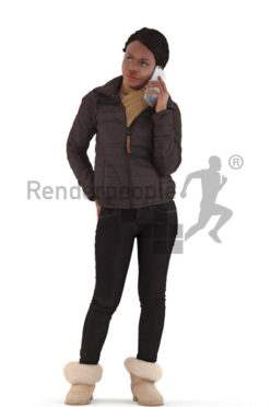 3d people outdoor, black 3d woman standing and calling
