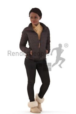 3d people outdoor, black 3d woman walking