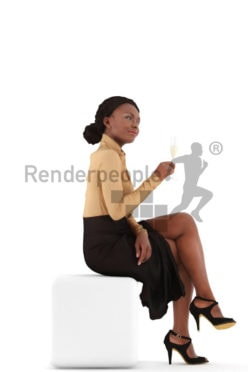 3d people evening, black 3d woman sitting an drinking