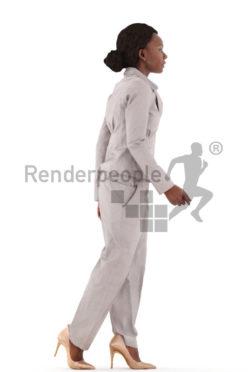 3d people business, black 3d woman walking