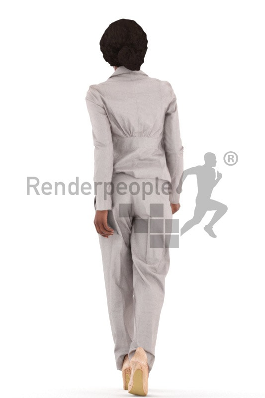 3d people business, black 3d woman walking