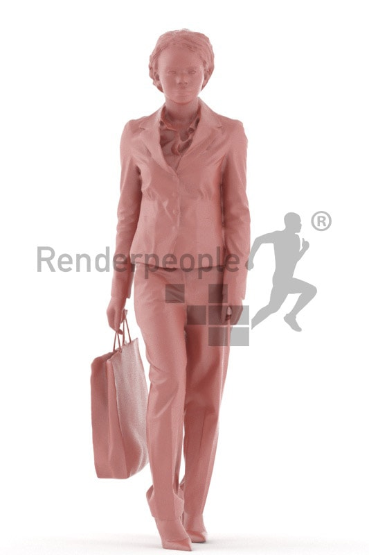 3d people business, black 3d woman walking with bag