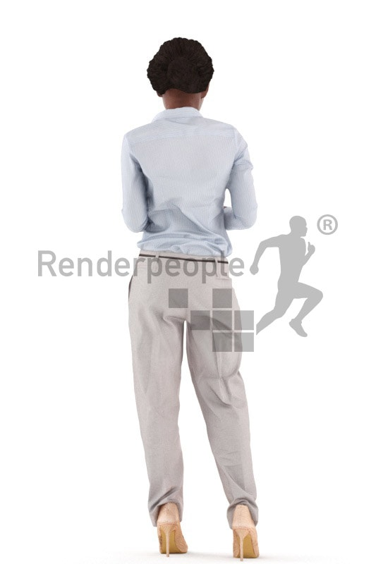 3d people business, black 3d woman standing and paying