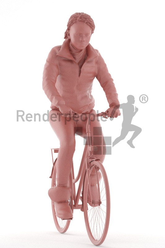 3d people outdoor, black 3d woman riding her bike