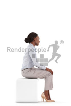 3d people business, black 3d woman sitting