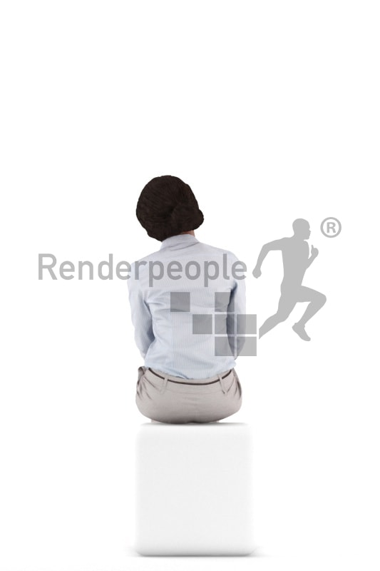 3d people business, black 3d woman sitting