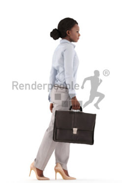 3d people business, black 3d woman walking with a suitcase
