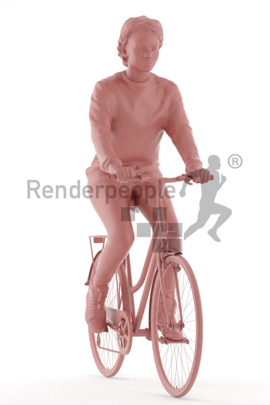 3d people casual, black 3d woman riding her bike