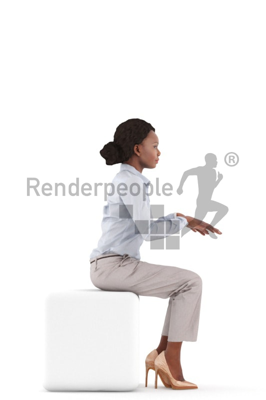 3d people business, black 3d woman sitting and typing