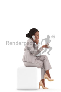 3d people business, black 3d woman sitting and calling