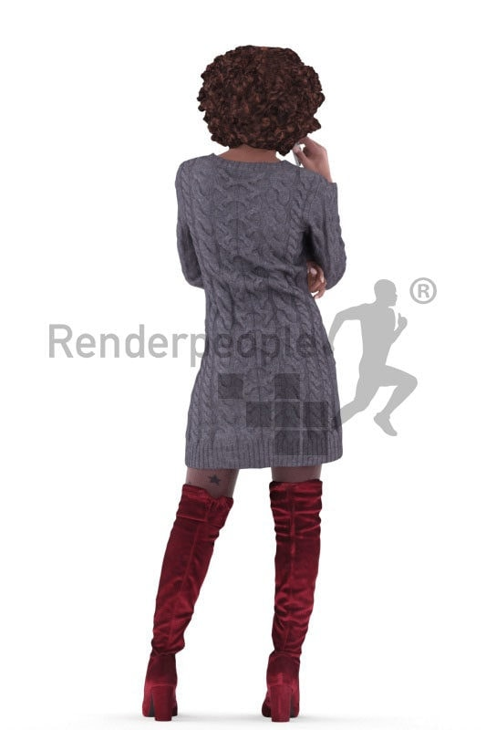 3d people casual, black 3d woman standing and calling