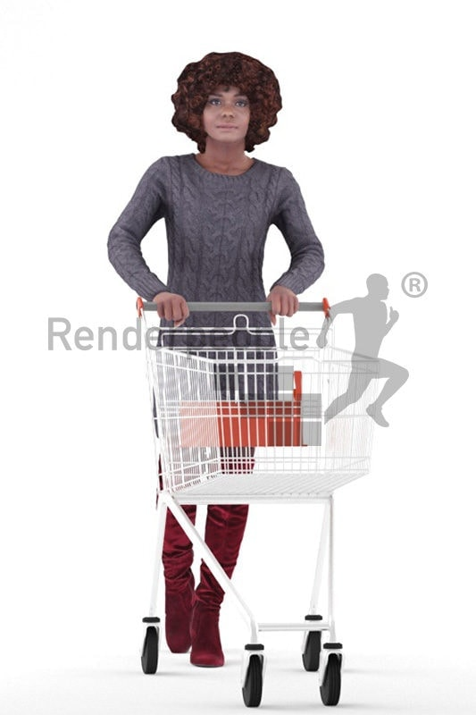 Scanned human 3D model by Renderpeople – black woman in daily winter outfit, walking with a shopping cart