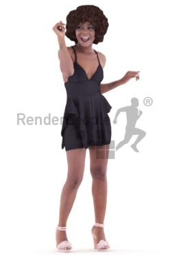 3d people event, black 3d woman dancing