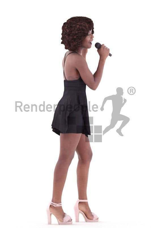 3d people event, black 3d woman singing