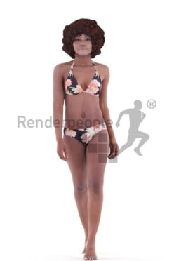 3d people swimwear, black 3d woman walking