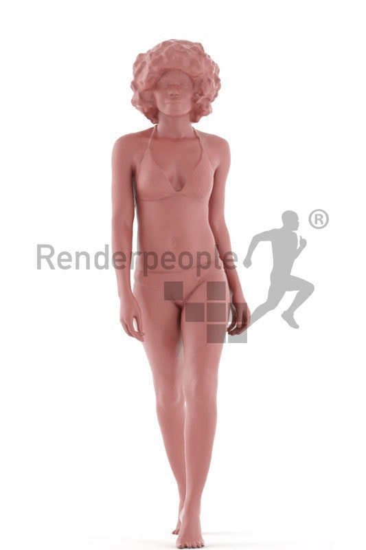 3d people swimwear, black 3d woman walking