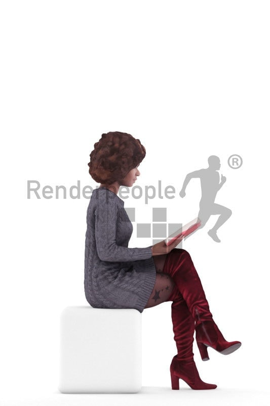 3d people casual, black 3d woman sitting and reading
