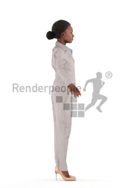 3d people business, rigged black woman in A Pose