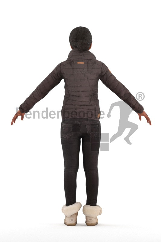 3d people outdoor, rigged black woman in A Pose