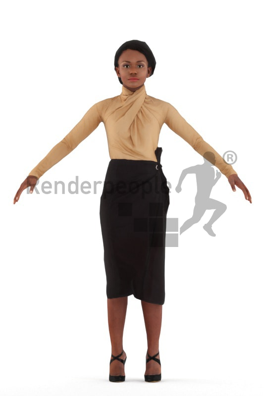 3d people event, rigged black woman in A Pose