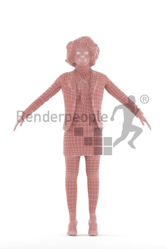 Rigged 3D People model for Maya and Cinema 4D, business, black woman