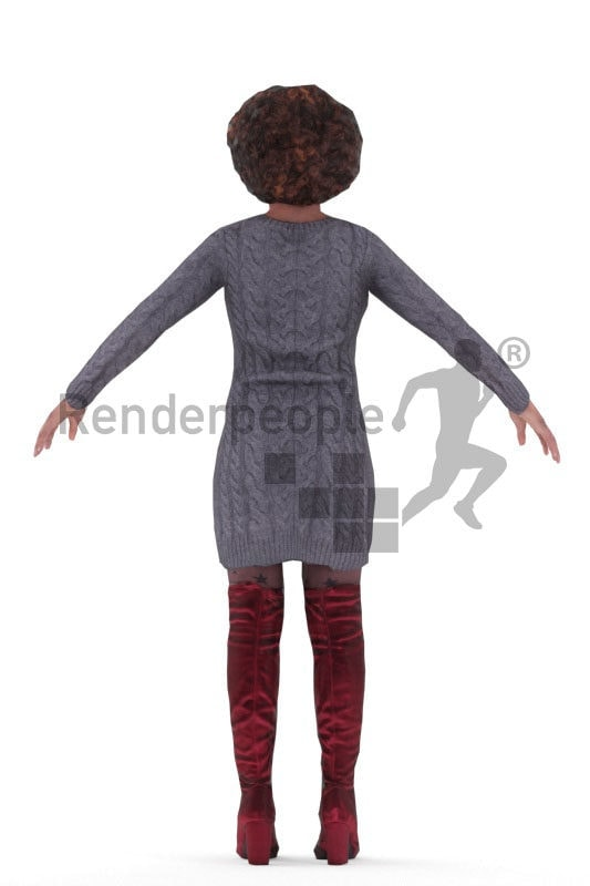 3d people casual, black rigged 3d woman in A Pose