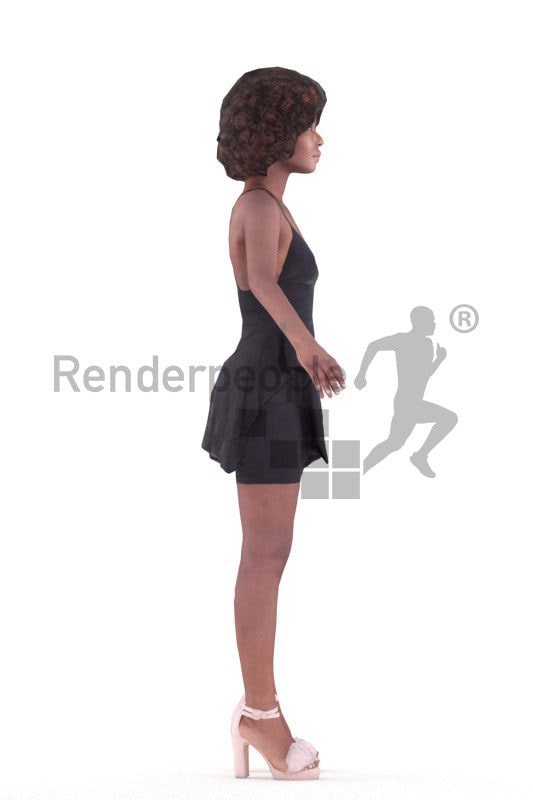 Rigged 3D People model for Maya and 3ds Max – black woman in a chic dress