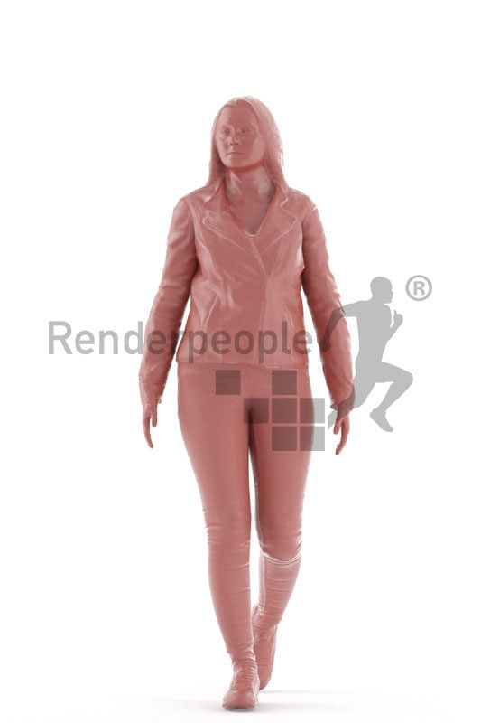 Animated 3D People model for realtime, VR and AR – european curvy woman in casual look, walking