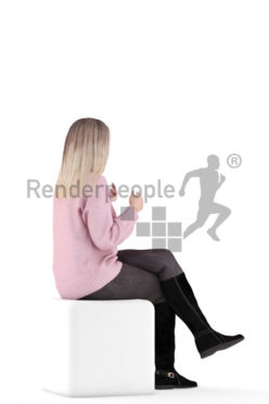 3d people casual, 3d white woman, sitting and interacting