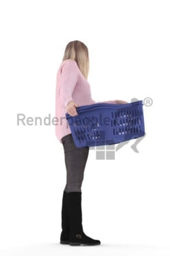 3d people casual, 3d white woman, standing with laundry basket