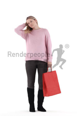 3d people casual, 3d white woman, with shopping bag