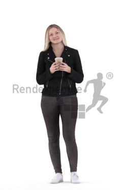 3d people casual, 3d white woman, with a coffe to go cup