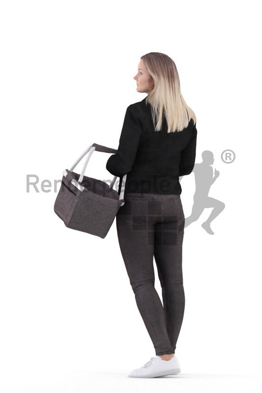 3d people casual, 3d white woman, with a basket