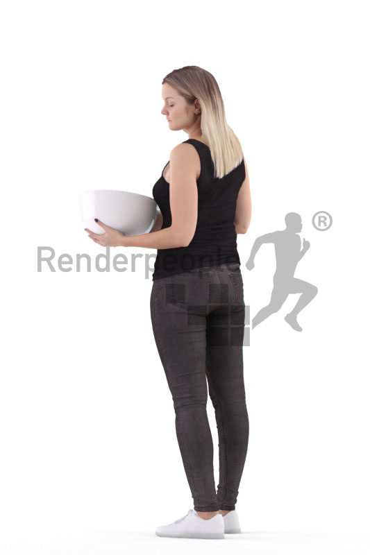3d people casual, 3d white woman, with a bowl